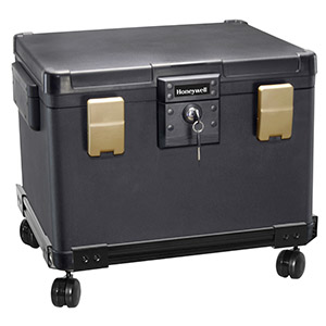 Waterproof 1/2 Hour Fire Safe Chest on Wheeled Cart for Digital Media & Letter-Sized Hanging File Folders